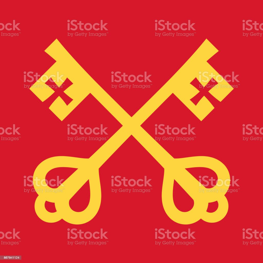 The keys of St.Peter (Keys to the Kingdom of Heaven), papal keys. The Catholic symbol of faith and salvation. Emblem of the Holy See. vector art illustration