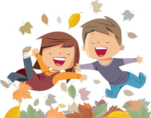 bildbanksillustrationer, clip art samt tecknat material och ikoner med the kids jump on the autumn leaves - children autumn