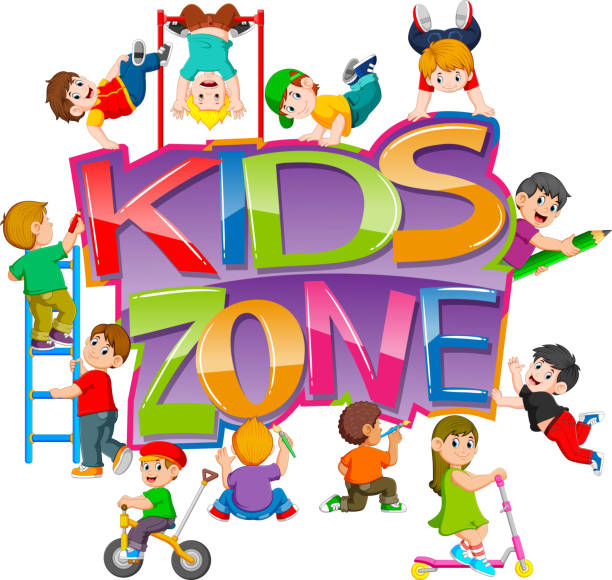 the kids zone text with the children playing around it - monkey bars stock illustrations, clip art, cartoons, & icons