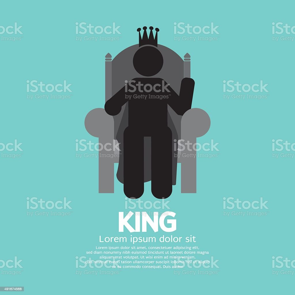 The King With His Throne. vector art illustration