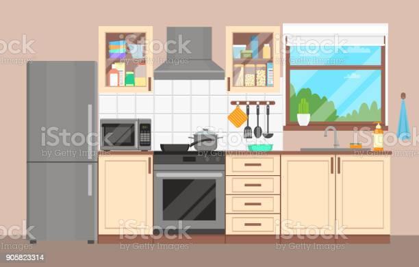 The kitchen interior furniture appliances dishes and cookware flat vector id905823314?b=1&k=6&m=905823314&s=612x612&h=y rn7g17qtvxuvrmjsw73wecyhwtniemou4jhau0qxk=