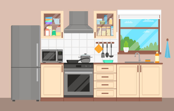 illustrazioni stock, clip art, cartoni animati e icone di tendenza di the kitchen interior. furniture, appliances, dishes and cookware. flat design. - cucina domestica