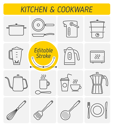 The kitchenware and cookware outline vector icon set.