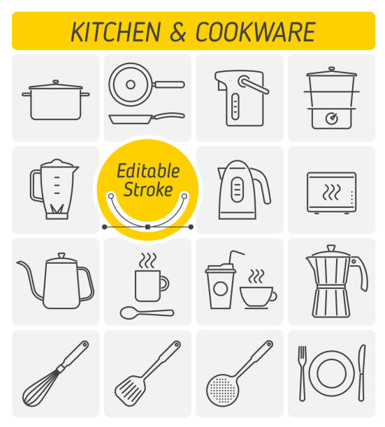 The kitchenware and cookware outline vector icon set. vector art illustration