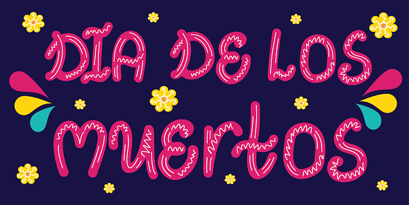The label dia de los muertos is isolated on a dark background. Mexican holiday with lettering bright colors. Vector illustration in flat cartoon style..
