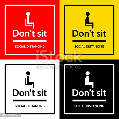 """the label with people sit icon and text """"don't sit"""" and text """"social distancing""""."""