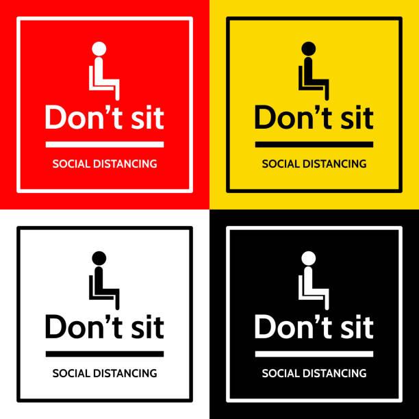 """ilustrações de stock, clip art, desenhos animados e ícones de the label with people sit icon and text """"don't sit"""" and text """"social distancing"""". - covid restaurant"""