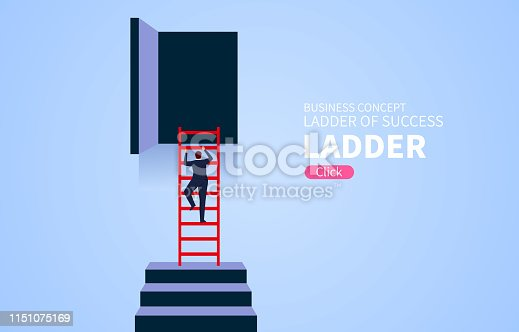 The ladder of success, climb the ladder to the position of the door