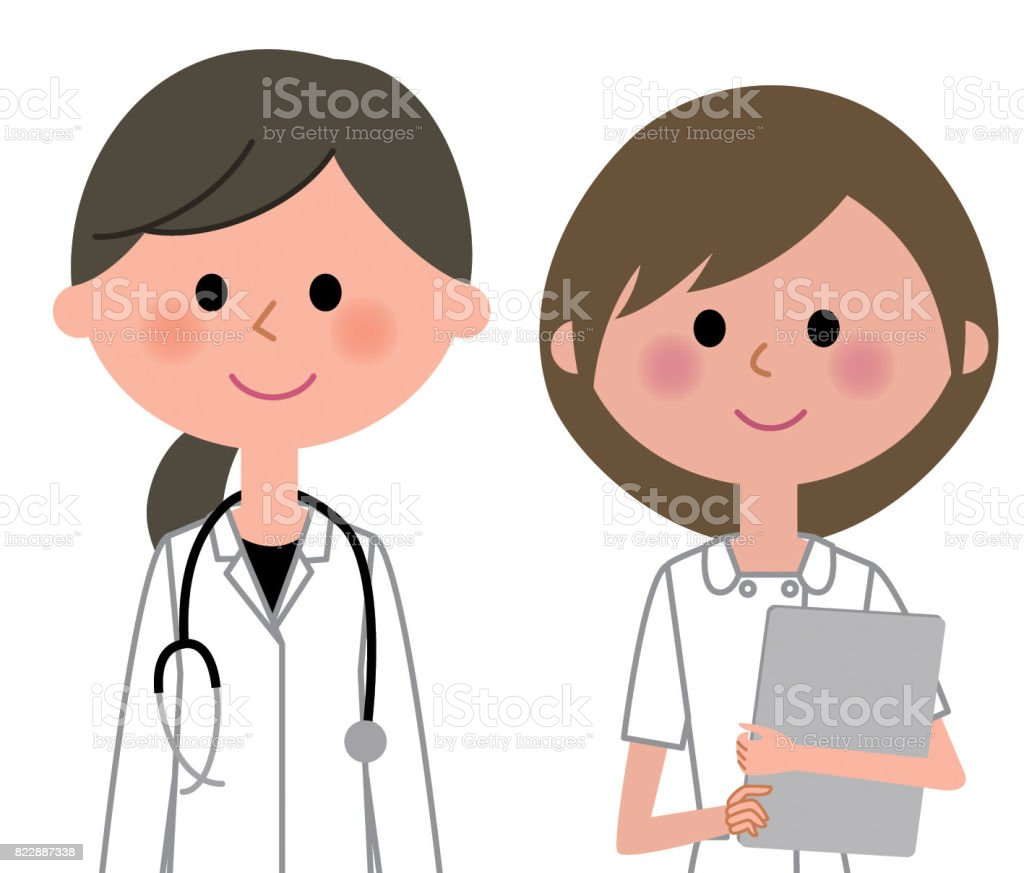 The lady and the nurse who put on a white coat vector art illustration