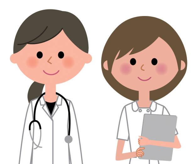 白いコートを着た人の看護師と女性 - 看護師点のイラスト素材/クリップアート素材/マンガ素材/アイコン素材