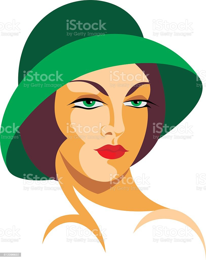 the lady in a hat vector art illustration