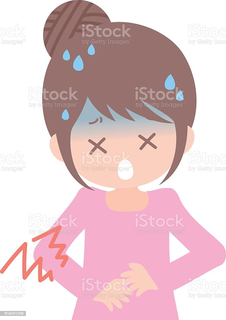 The lady stomach hurts vector art illustration