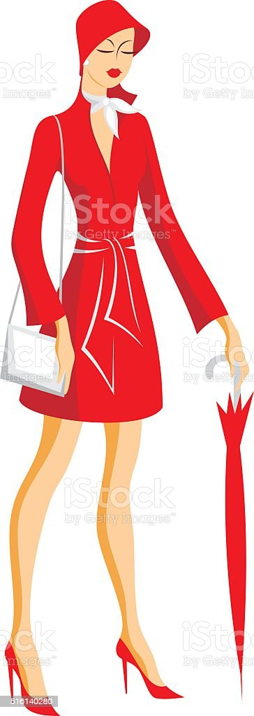 the lady with an umbrella vector art illustration