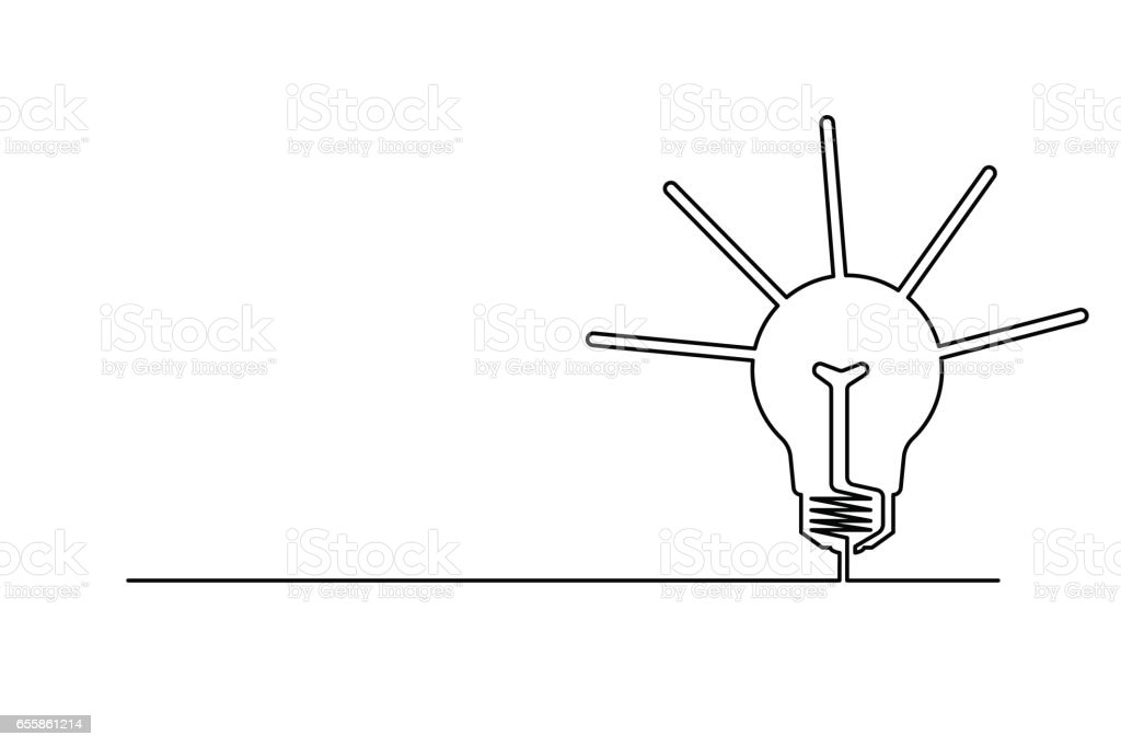 The lamp is the symbol of the idea. vector art illustration