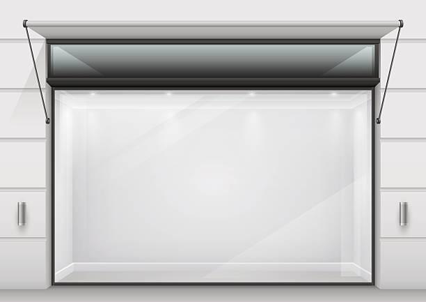 illustrations, cliparts, dessins animés et icônes de the large glass showcase - vitrine magasin