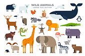 The large set of wild animals in flat design isolated on white background. Elephant, lion, whale, giraffe, zebra and other animals vector flat illustration.