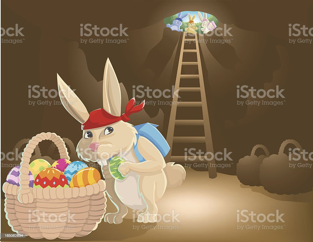 the last basket of eggs... royalty-free stock vector art