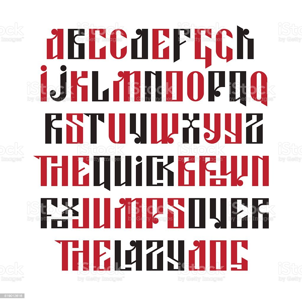 The latin stylization of Old slavic font vector art illustration
