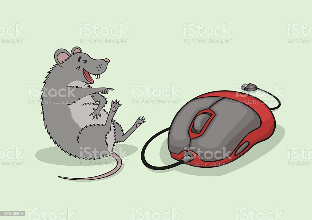 The laughing mouse. vector art illustration