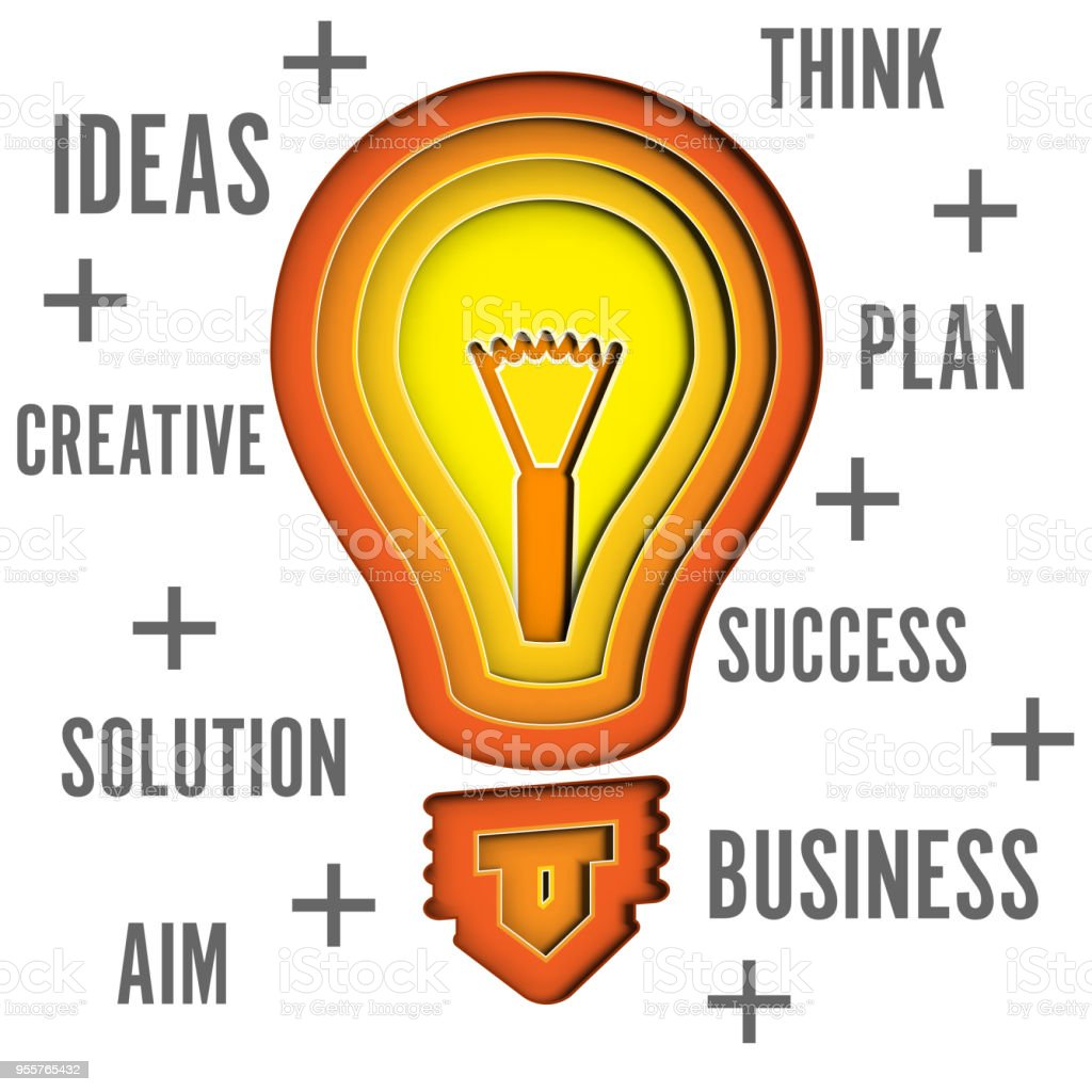 The Layer Of Light Bulb In Realistic Trendy As Business Idea Paper