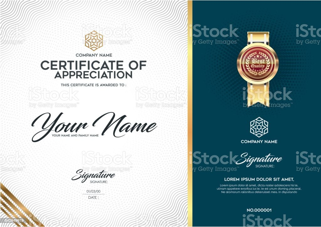The Layout And Text Format For Certification Stock Vector Art & More ...