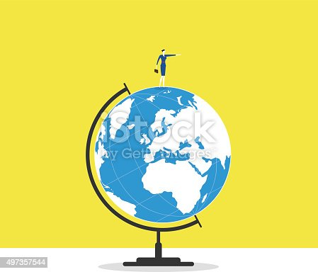 A business woman stands on a globe and guide forward.