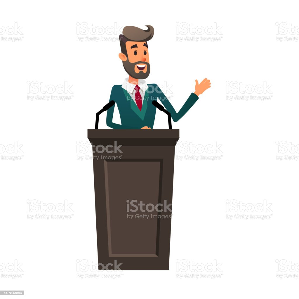 The lecturer stands behind the rostrum. The speaker lectures and gestures. A young politician speaks to the public