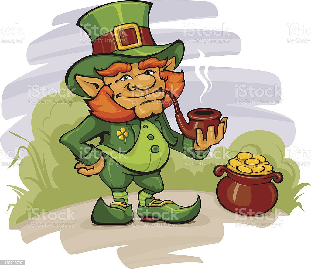 The Leprechaun with his Gold royalty-free the leprechaun with his gold stock illustration - download image now
