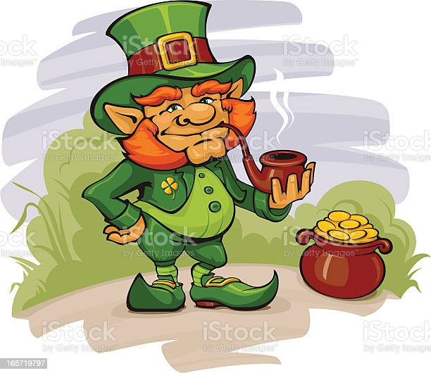 The Leprechaun With His Gold Stock Illustration - Download Image Now