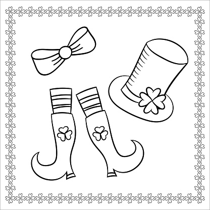 The leprechaun's hat and boots.Traditional symbols of St. Patrick's day.Vector