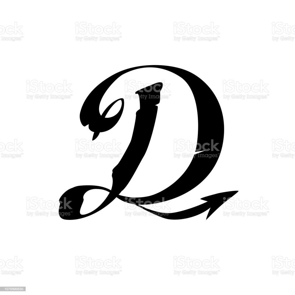 De Letter D In Gotische Stijl Vector Latijnse Hoofdletter