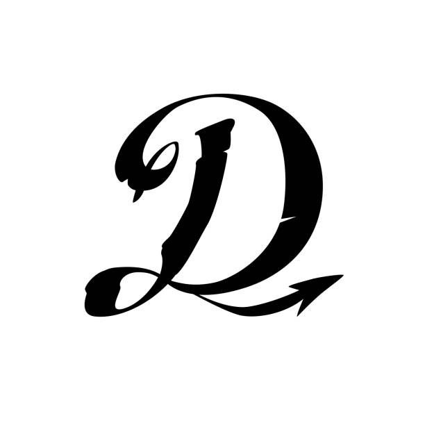 Royalty Free Silhouette Of A Tattoo Style Letter D Clip Art Vector