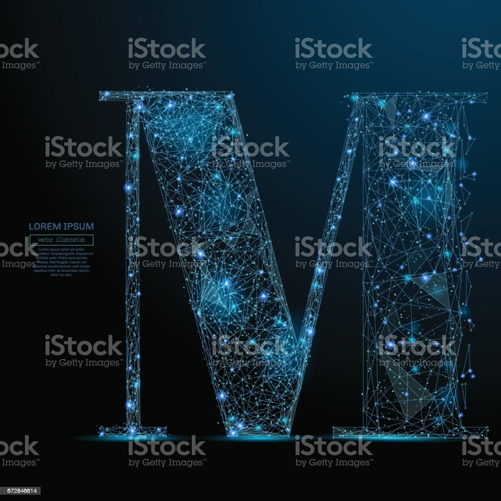 the letter M low poly blue vector art illustration