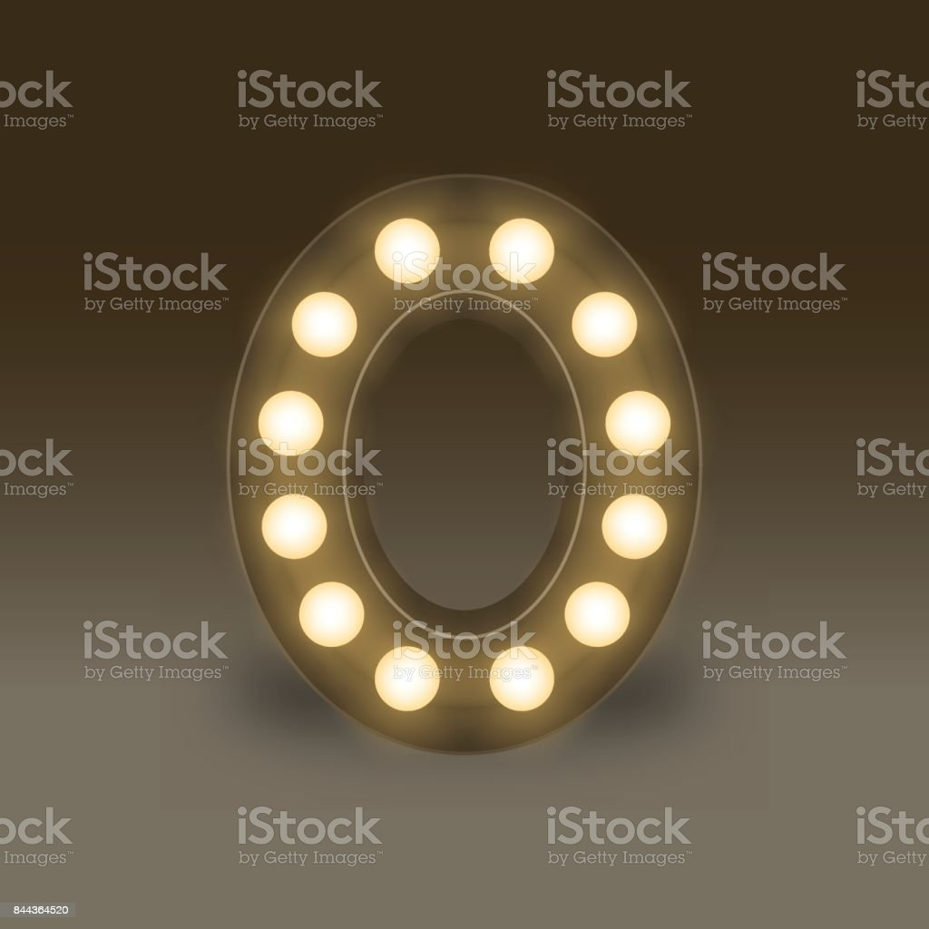 the letter number zero or 0 in the alphabet incandescent light