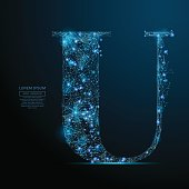 the letter U low poly blue
