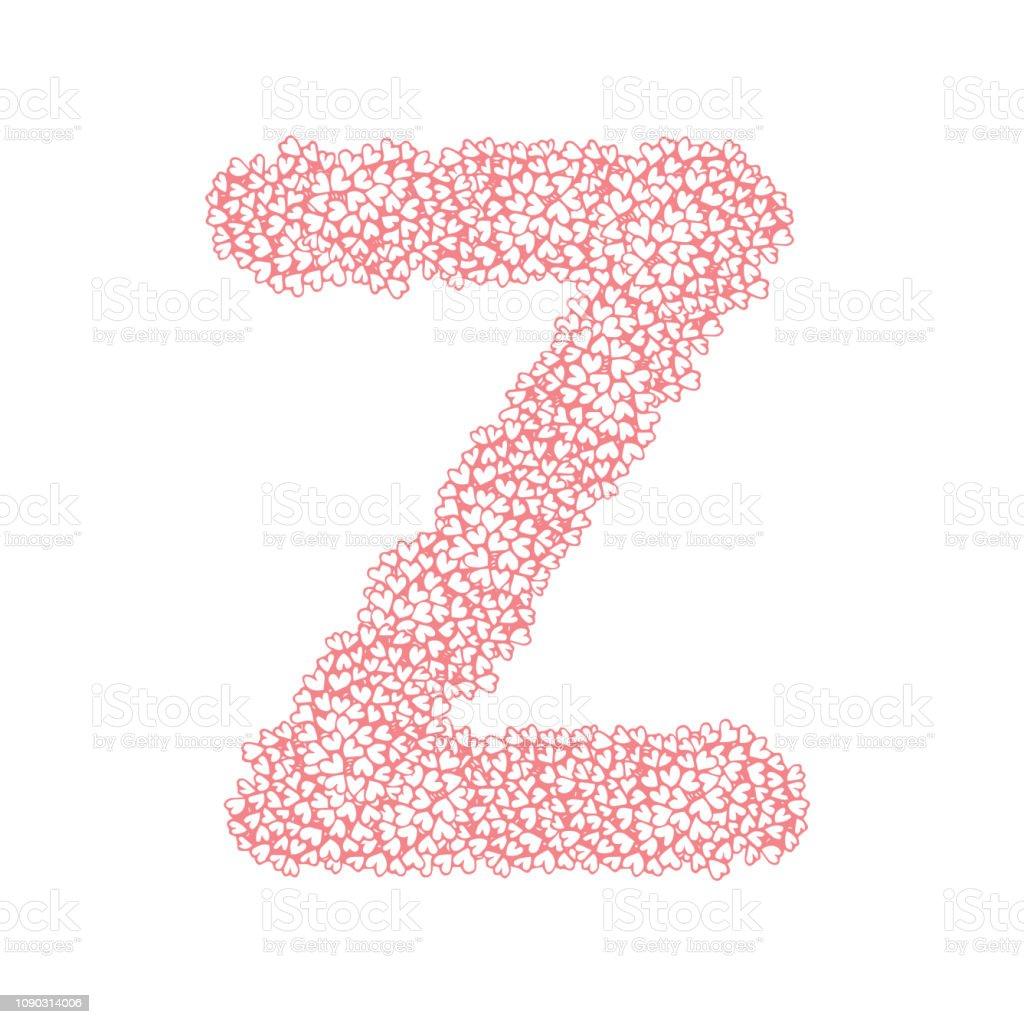The Letter Z In The Alphabet Heart Flower Bush Illustration Set Flat
