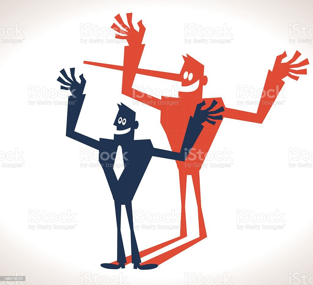 The Liar Concept, Smiling strong businessman with long nose shadow vector art illustration