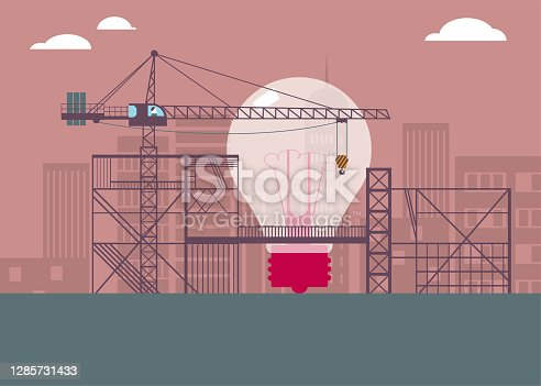 istock The light bulb is being constructed at the construction site. 1285731433