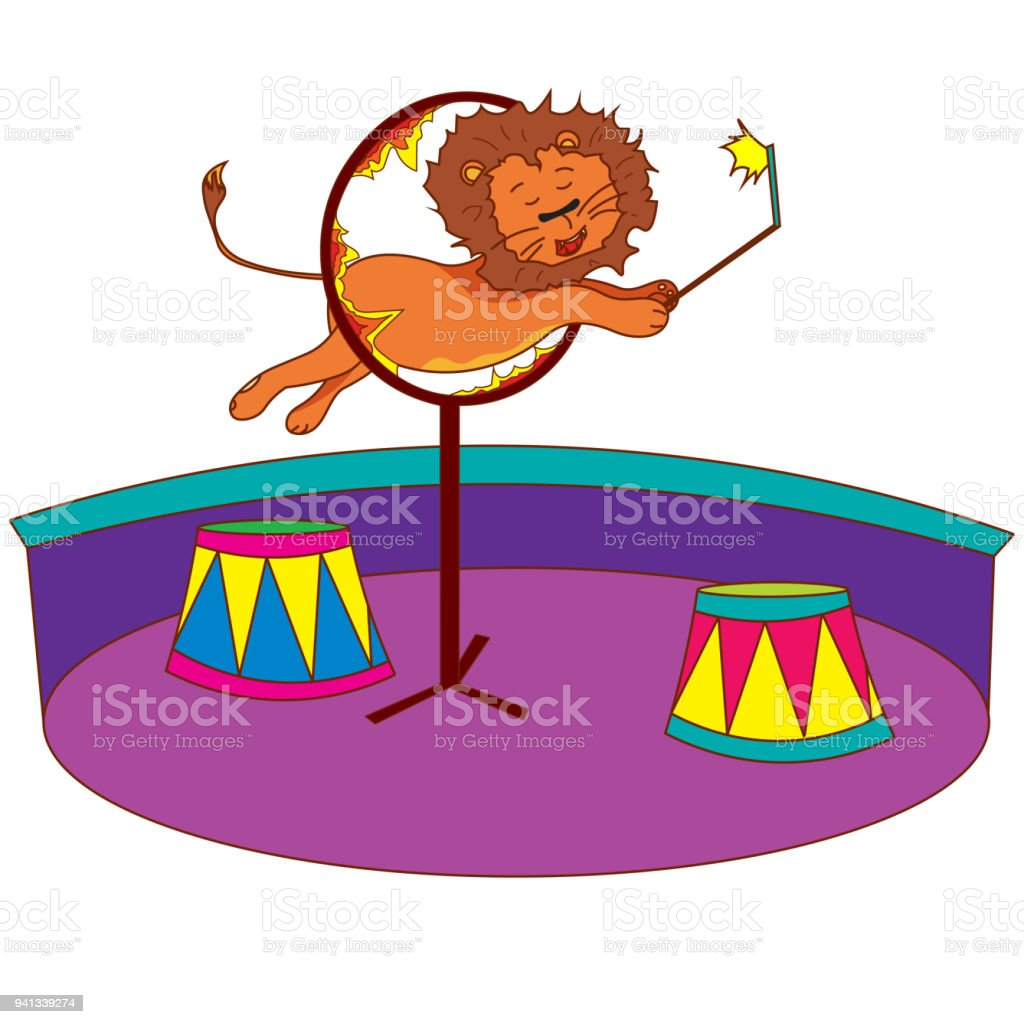 The Lion In The Circus Jumps Over The Ring Of Fire. Royalty Free The