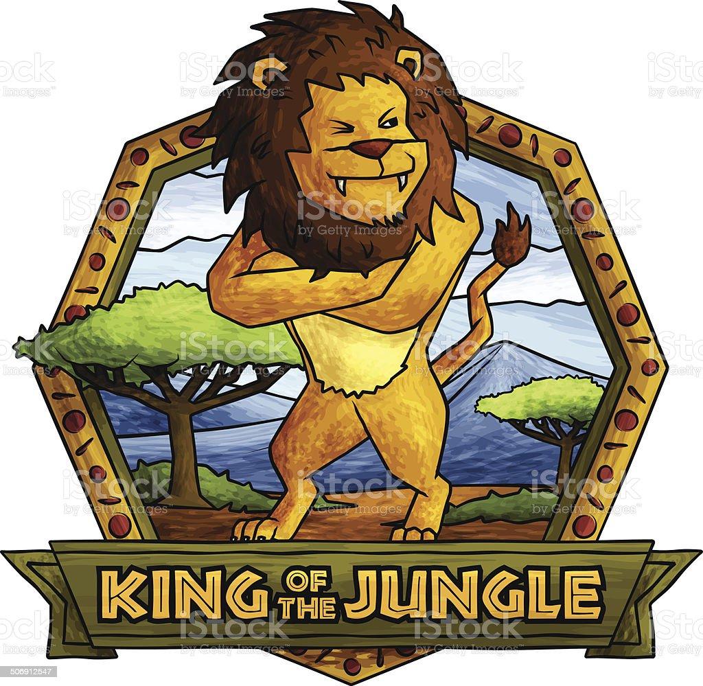 The Lion Kingsizebett Auf Den Dschungel Vektor Illustration ...