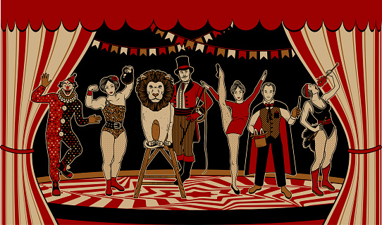The Lion Tamer, The Clown, The Circus Strong Woman, The Circus Magician, The Circus Fire Eater, The Gymnast Girl. Vector illustration.