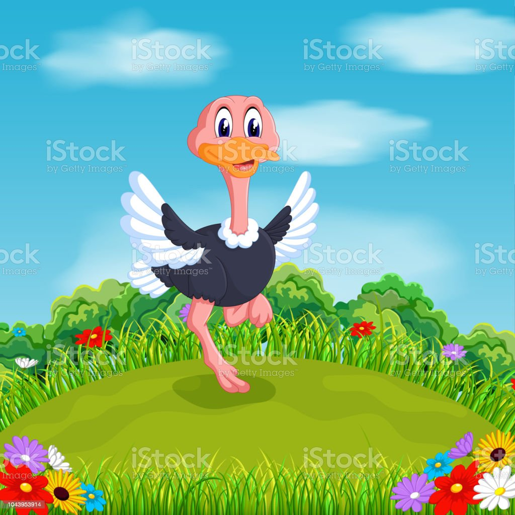 the little baby ostrich playing on the green field under the blue sky