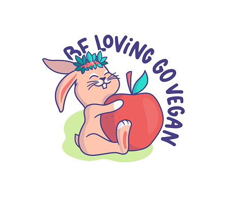 The little bunny is a vegetarian. Cartoonish rabbit with a big apple