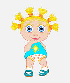 The little girl is the sun. A child for a walk. The baby looks trusting, embarrassed and smiles. Vector illustration.