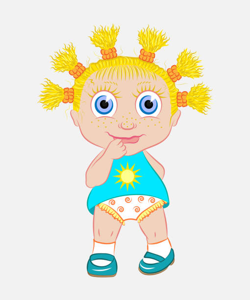 The little girl is the sun. The little girl is the sun. A child for a walk. The baby looks trusting, embarrassed and smiles. Vector illustration. little girls in panties stock illustrations