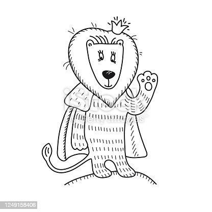 The little lion king in the crown and fur cape. Cute animal waving paw. Hand-drawn russian lubok. Fairystory doodle. Colouring book for kids