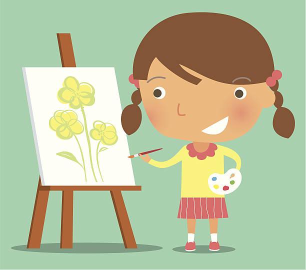 The little painter vector art illustration