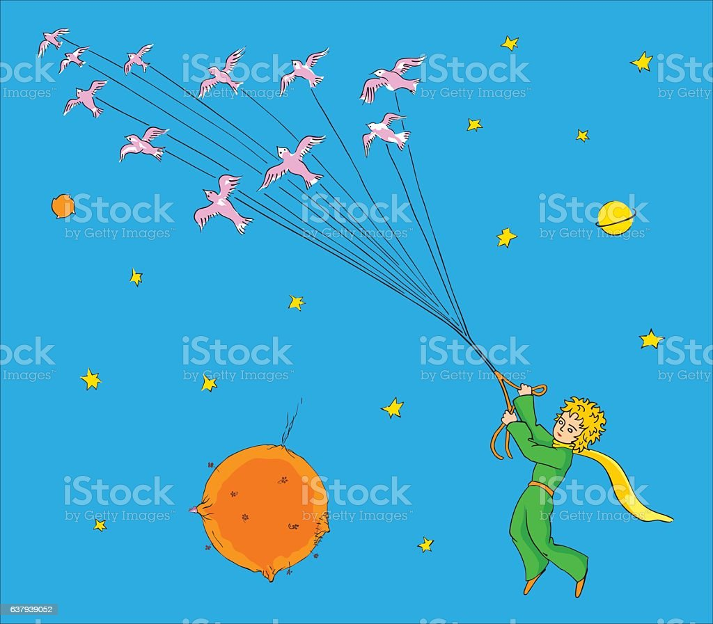 The little Prince flying with birds vector art illustration