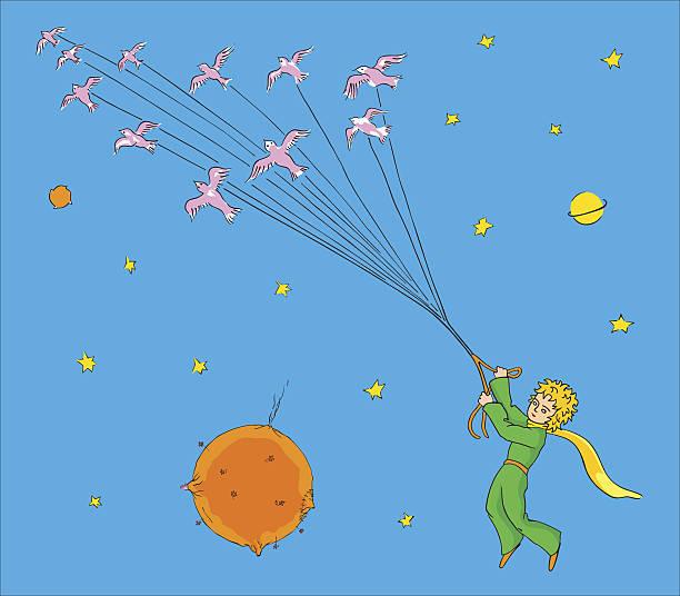 stockillustraties, clipart, cartoons en iconen met the little prince flying with birds - klein