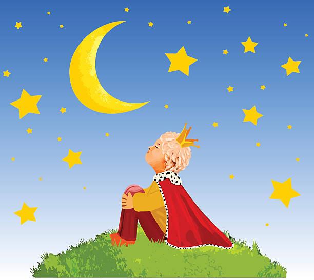 der kleiner prinz auf einem planeten im schönen nachthimmel - prince stock-grafiken, -clipart, -cartoons und -symbole